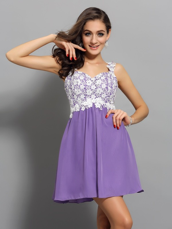 Short/Mini A-Line/Princess Straps Sleeveless Applique Chiffon Dresses