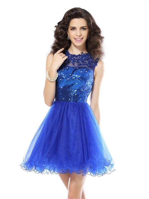 Short/Mini A-Line/Princess Scoop Sleeveless Paillette Net Dresses