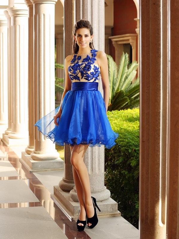 Short/Mini A-Line/Princess Bateau Sleeveless Beading Organza Dresses