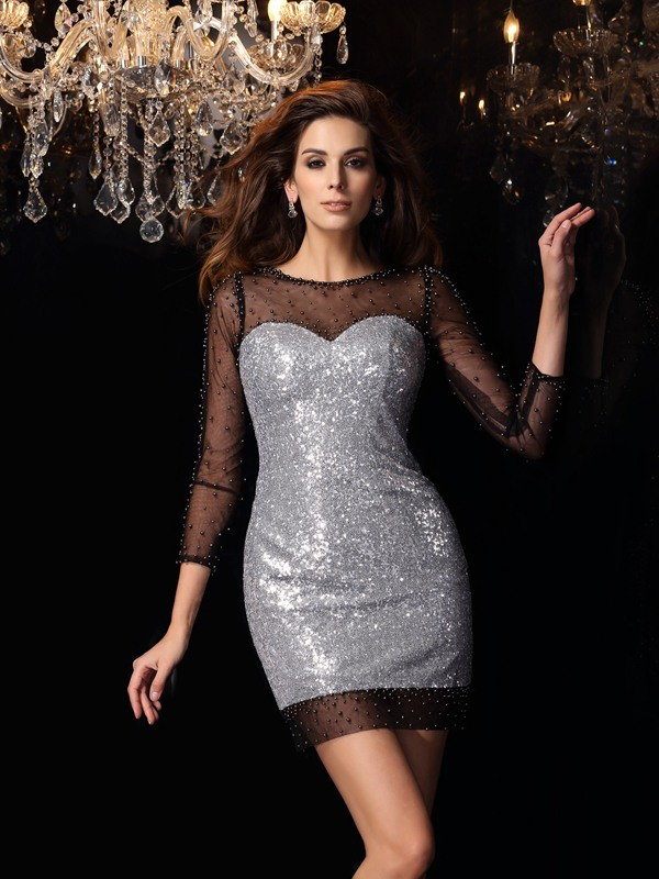 Short/Mini Sheath/Column Scoop 3/4 Sleeves Beading Sequins Dresses