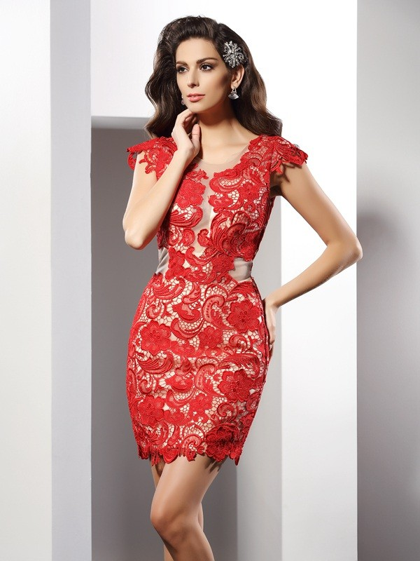 Short/Mini Sheath/Column Scoop Sleeveless Lace Elastic Woven Satin Dresses