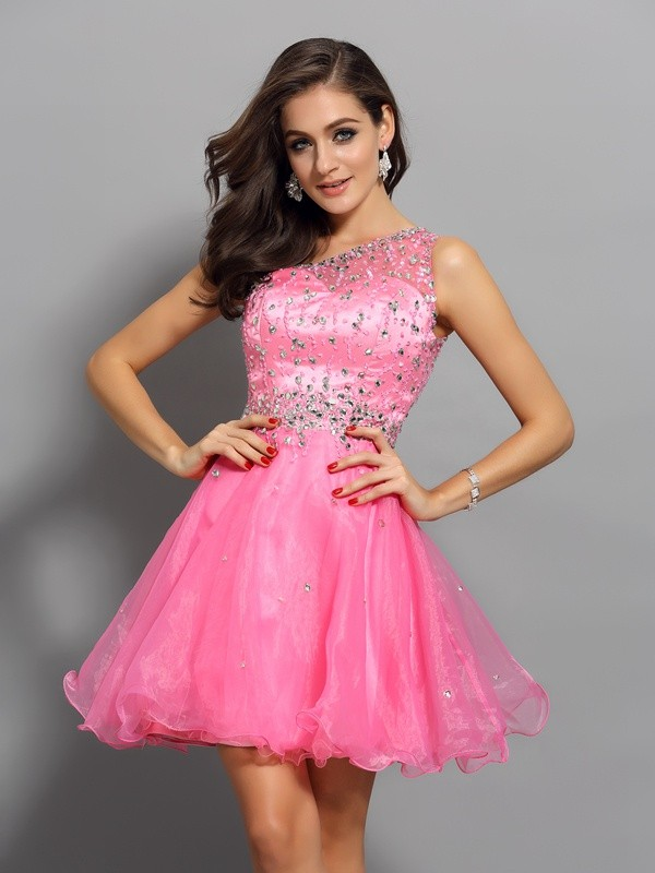 Short/Mini A-Line/Princess One-Shoulder Sleeveless Ruffles Organza Dresses
