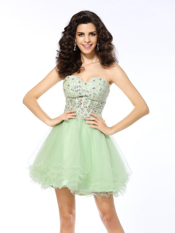Short/Mini A-Line/Princess Sweetheart Sleeveless Ruffles Satin Dresses