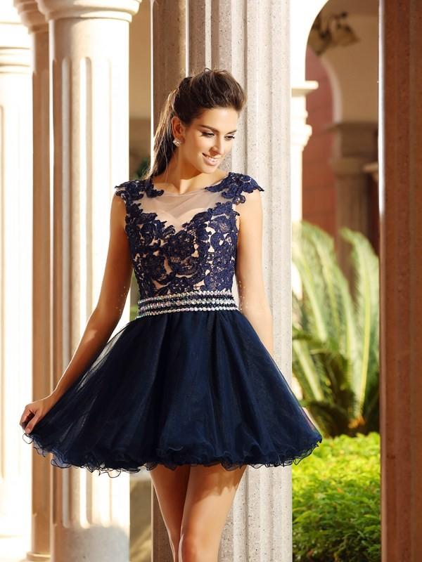 Short/Mini A-Line/Princess Scoop Sleeveless Applique Tulle Dresses
