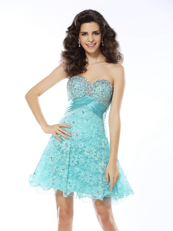 Short/Mini A-Line/Princess Sweetheart Sleeveless Ruffles Satin Dresses