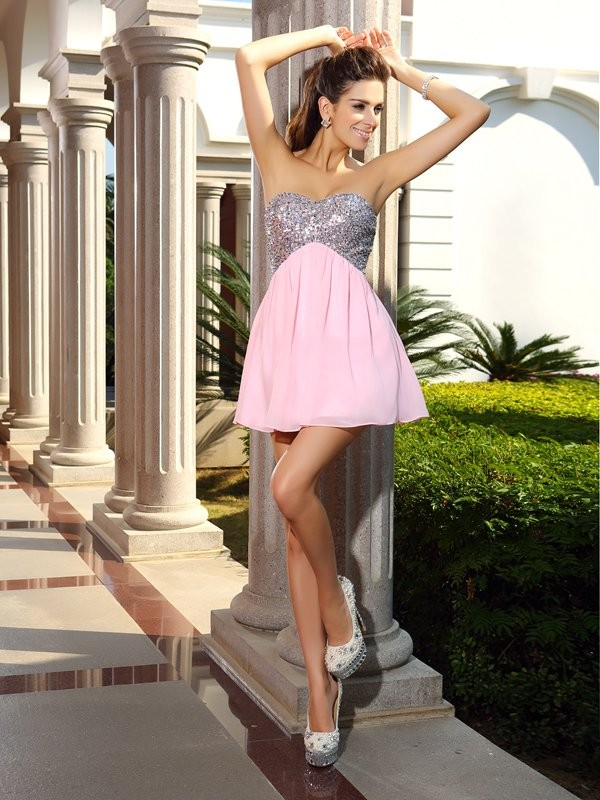 Short/Mini A-Line/Princess Sweetheart Sleeveless Sequin Chiffon Dresses