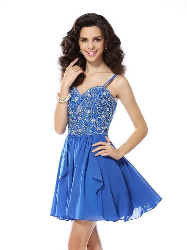 Short/Mini A-Line/Princess Spaghetti Straps Sleeveless Beading Chiffon Dresses