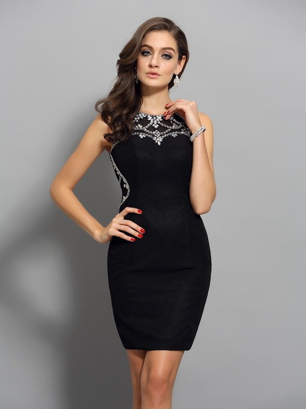 Short/Mini Sheath/Column Scoop Sleeveless Beading Chiffon Dresses