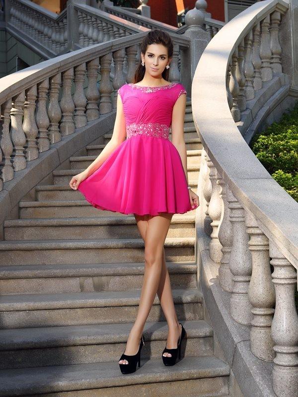 Short/Mini A-Line/Princess Scoop Sleeveless Beading Chiffon Dresses