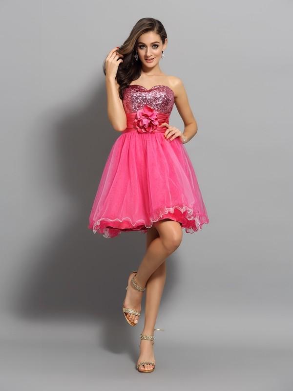 Short/Mini A-Line/Princess Sweetheart Sleeveless Ruffles Net Dresses