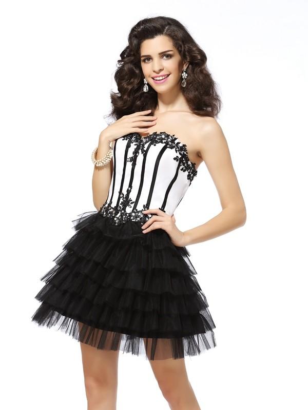 Short/Mini A-Line/Princess Sweetheart Sleeveless Applique Tulle Dresses