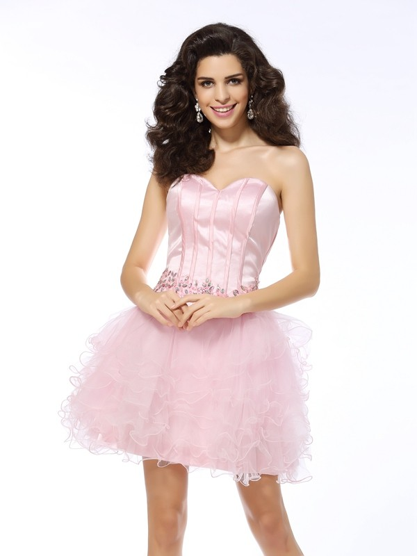 Short/Mini A-Line/Princess Sweetheart Sleeveless Ruffles Net Dresses
