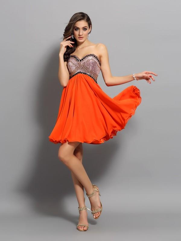 Short/Mini A-Line/Princess Sweetheart Sleeveless Ruffles Organza Dresses