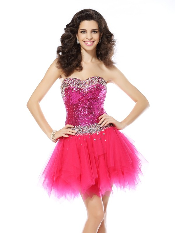 Short/Mini A-Line/Princess Sweetheart Sleeveless Beading Net Dresses