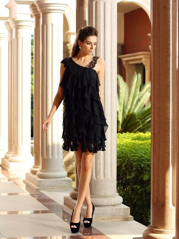 Short/Mini A-Line/Princess Other Sleeveless Ruffles Chiffon Dresses