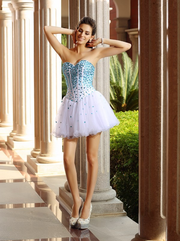 Short/Mini A-Line/Princess Sweetheart Sleeveless Ruffles Tulle Dresses