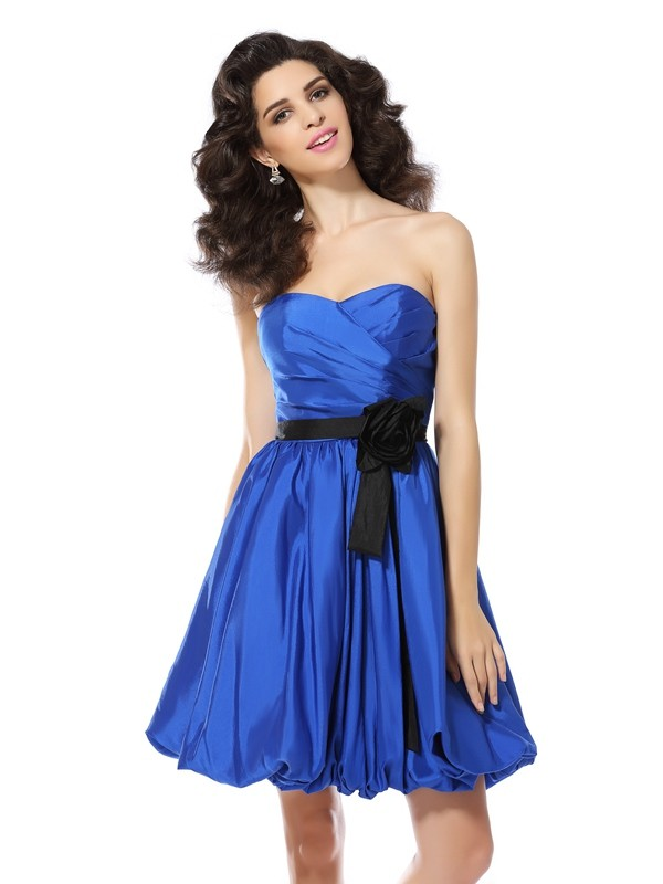 Short/Mini A-Line/Princess Sweetheart Sleeveless Hand-Made Flower Taffeta Dresses