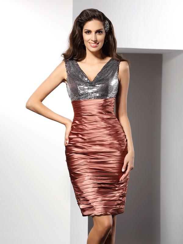 Knee-Length Sheath/Column V-neck Sleeveless Other Silk like Satin Dresses
