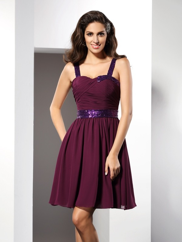 Short/Mini A-Line/Princess Straps Sleeveless Ruched Chiffon Dresses