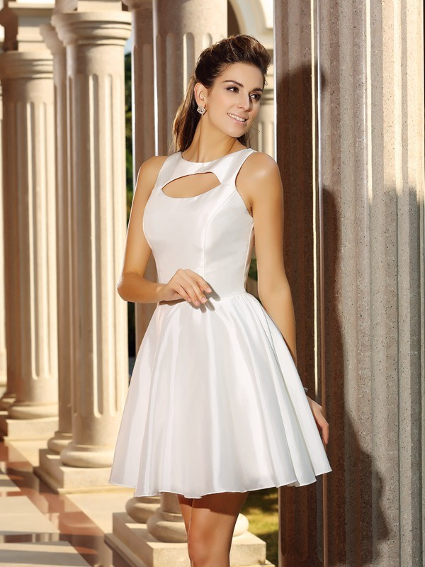 Short/Mini A-Line/Princess High Neck Sleeveless Other Satin Dresses