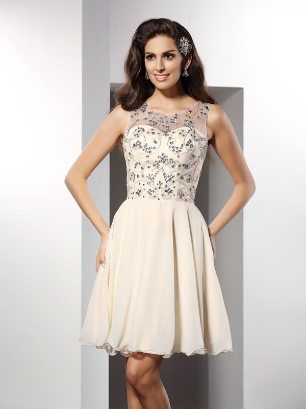 Short/Mini A-Line/Princess Bateau Sleeveless Beading Chiffon Dresses