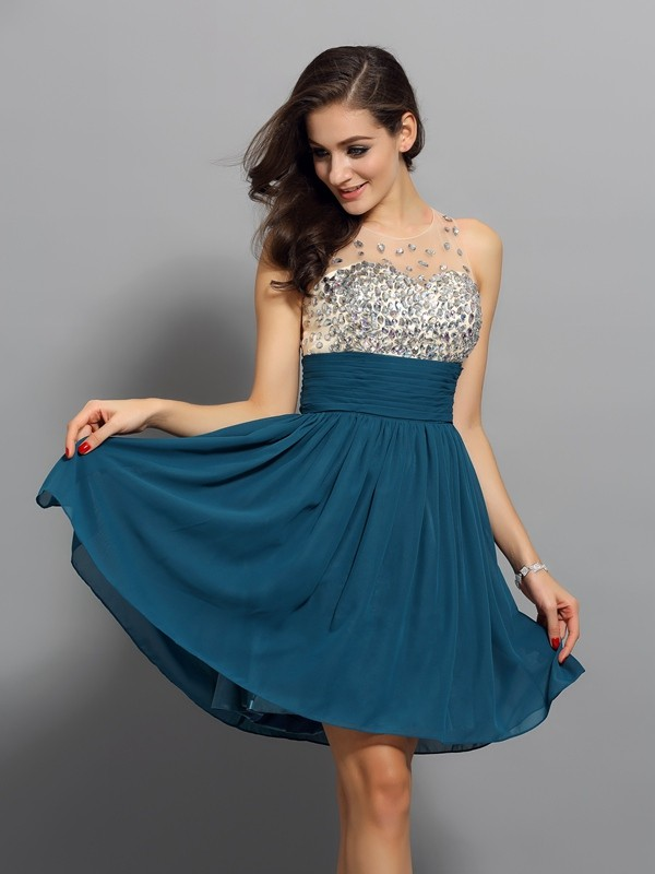 Short/Mini A-Line/Princess Bateau Sleeveless Rhinestone Chiffon Dresses
