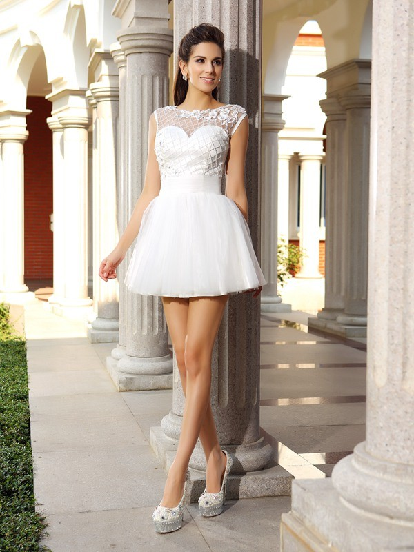 Short/Mini A-Line/Princess Scoop Sleeveless Beading Satin Dresses