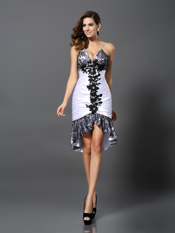 Asymmetrical Sheath/Column Sweetheart Sleeveless Lace Elastic Woven Satin Dresses