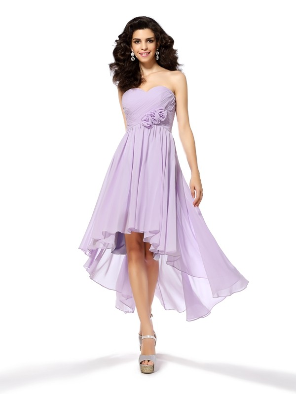 Asymmetrical A-Line/Princess Sweetheart Sleeveless Hand-Made Flower Chiffon Dresses