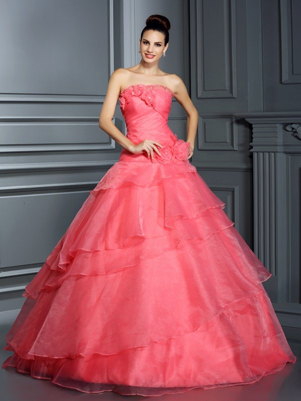 Floor-Length Ball Gown Strapless Sleeveless Hand-Made Flower Organza Dresses