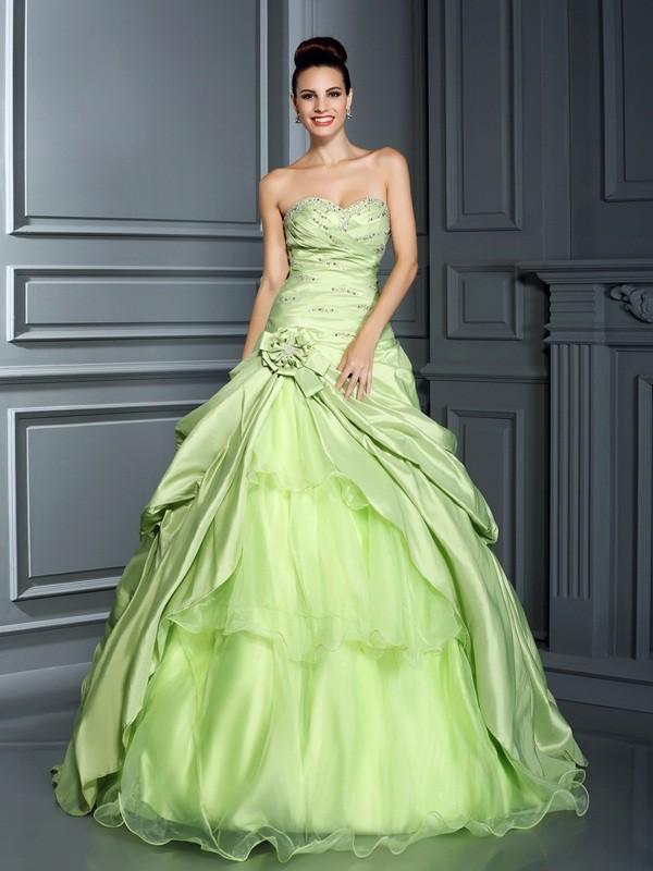 daf49a90f9e Floor-Length Ball Gown Sweetheart Sleeveless Hand-Made Flower Taffeta  Dresses