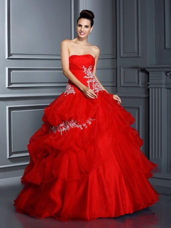 Floor-Length Ball Gown Strapless Sleeveless Applique Organza Dresses