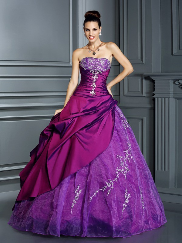 Floor-Length Ball Gown Strapless Sleeveless Applique Taffeta Dresses