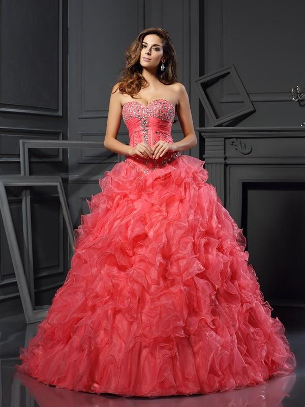 Floor-Length Ball Gown Sweetheart Sleeveless Ruffles Organza Dresses