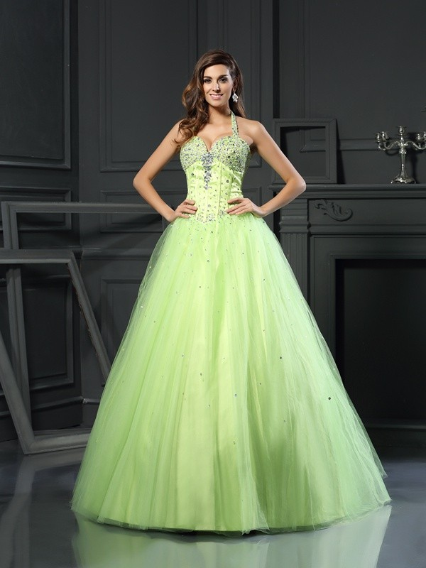 Floor-Length Ball Gown Halter Sleeveless Beading Satin Dresses