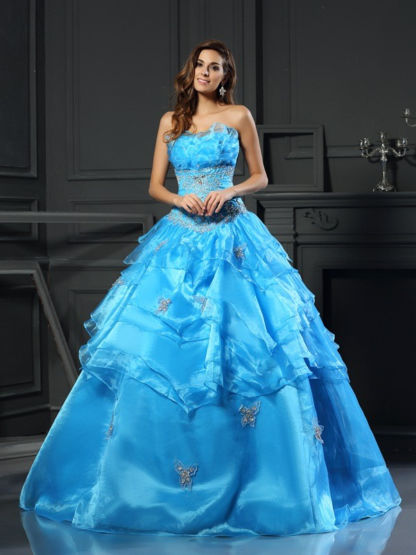 Floor-Length Ball Gown Sweetheart Sleeveless Beading Organza Dresses