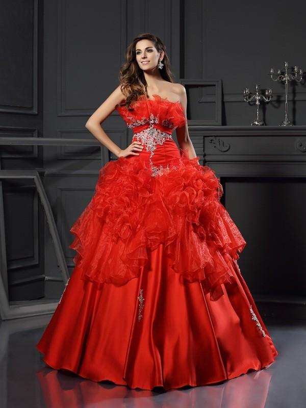 Floor-Length Ball Gown Strapless Sleeveless Ruffles Organza Dresses