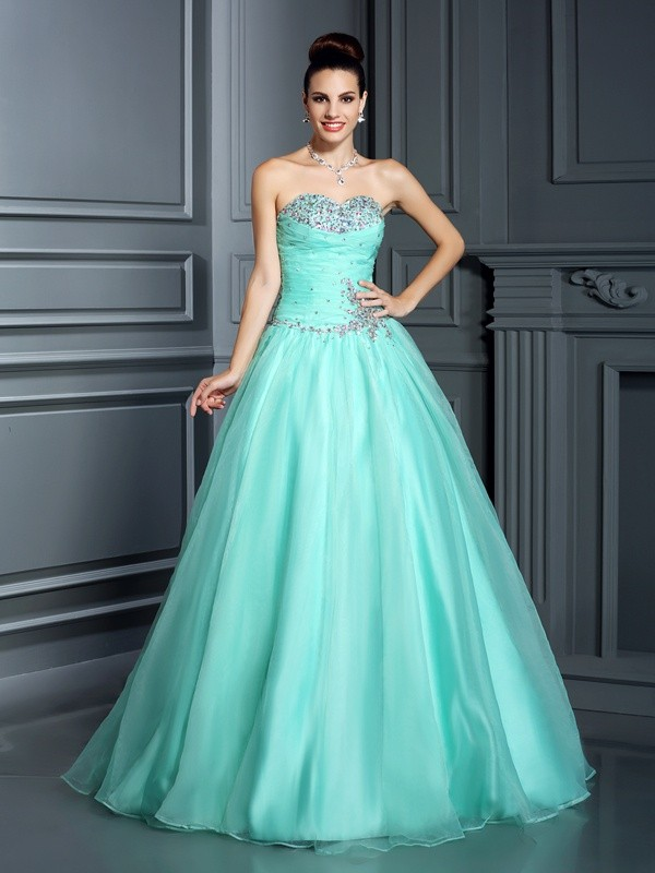 Floor-Length Ball Gown Sweetheart Sleeveless Beading Organza Dresses