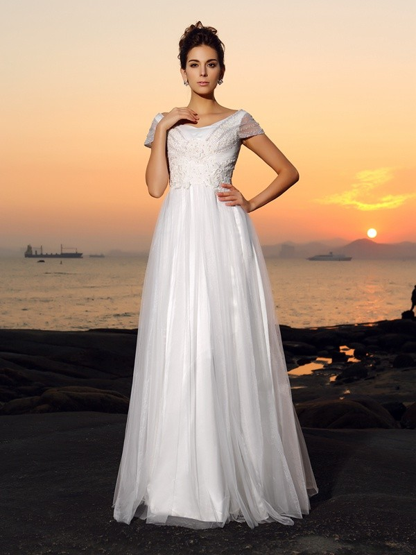Floor-Length A-Line/Princess Off-the-Shoulder Short Sleeves Beading Tulle Wedding Dresses