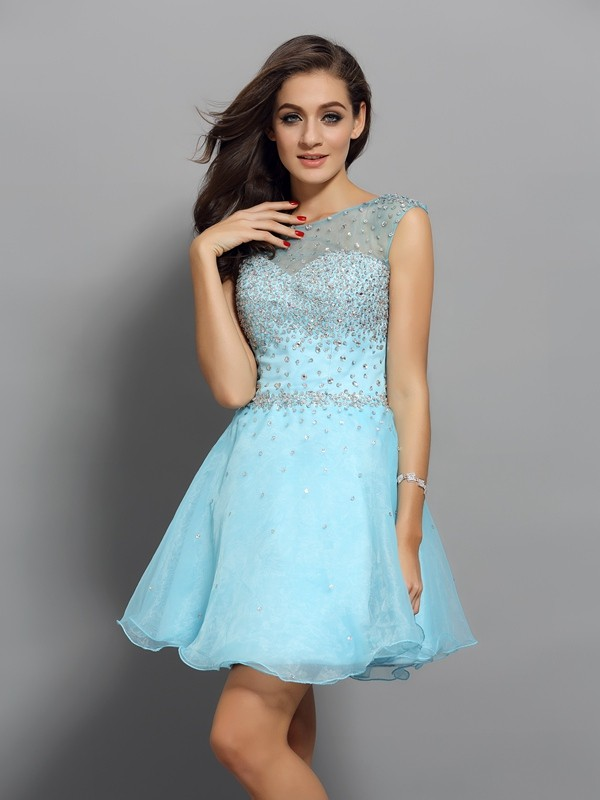 Short/Mini A-Line/Princess Scoop Sleeveless Beading Organza Dresses