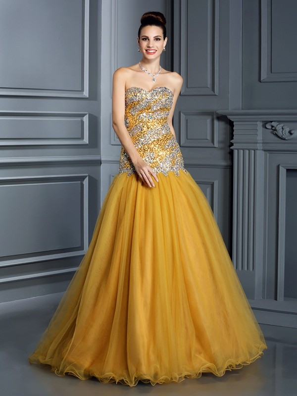 Floor-Length A-Line/Princess Sweetheart Sleeveless Ruffles Satin Dresses