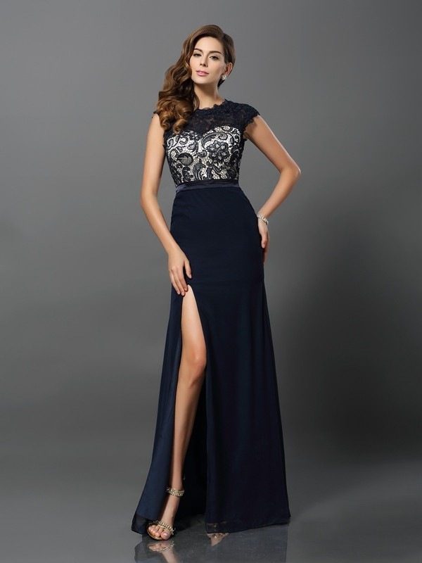 Floor-Length Sheath/Column Jewel Short Sleeves Other Chiffon Dresses