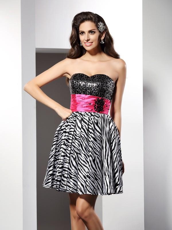 Short/Mini A-Line/Princess Sweetheart Sleeveless Other Chiffon Dresses