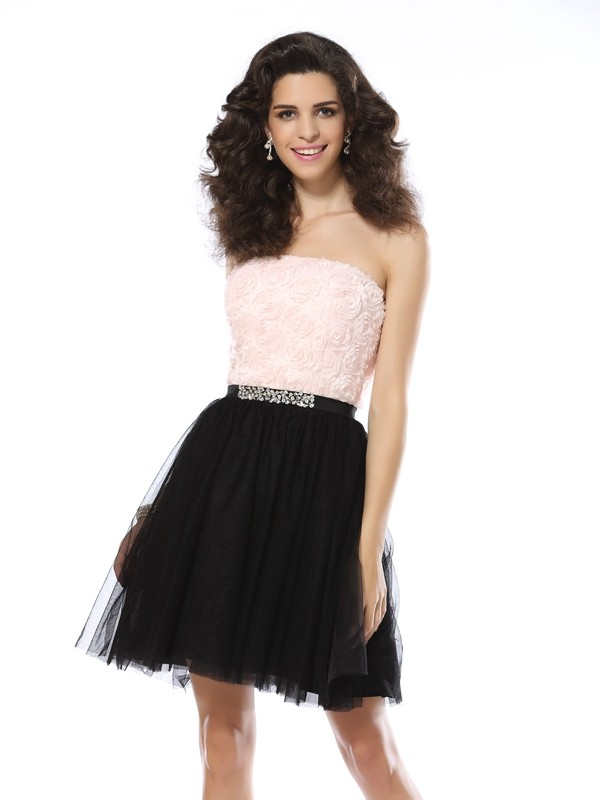 Short/Mini A-Line/Princess Strapless Sleeveless Other Tulle Dresses