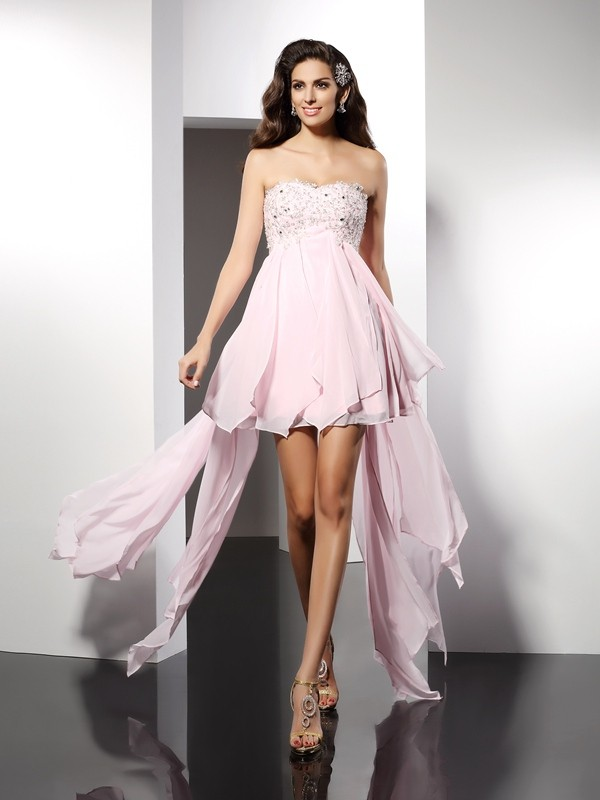 Asymmetrical A-Line/Princess Sweetheart Sleeveless Applique Chiffon Dresses