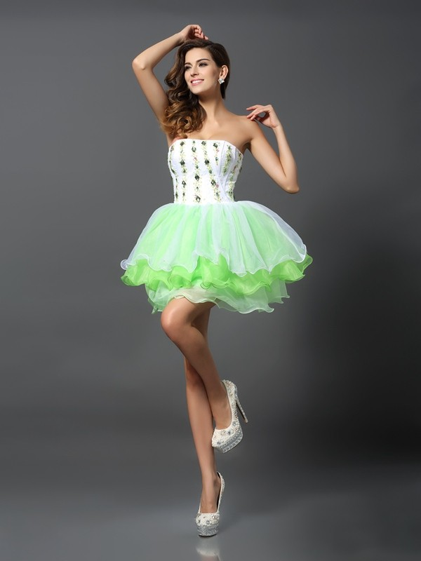Short/Mini A-Line/Princess Strapless Sleeveless Ruffles Organza Dresses