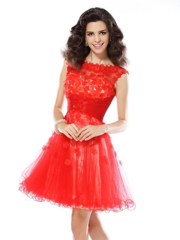 Short/Mini A-Line/Princess Scoop Sleeveless Applique Elastic Woven Satin Dresses