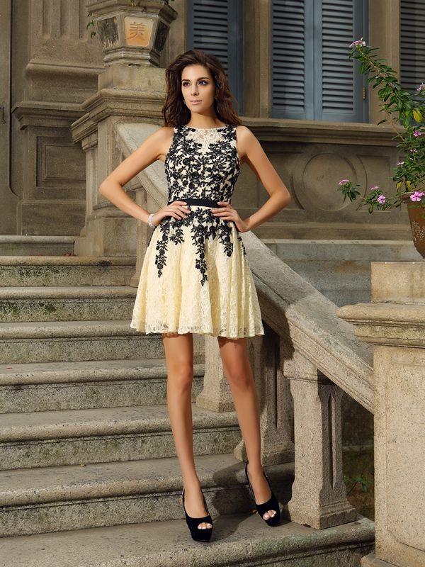 Short/Mini A-Line/Princess Scoop Sleeveless Applique Lace Dresses
