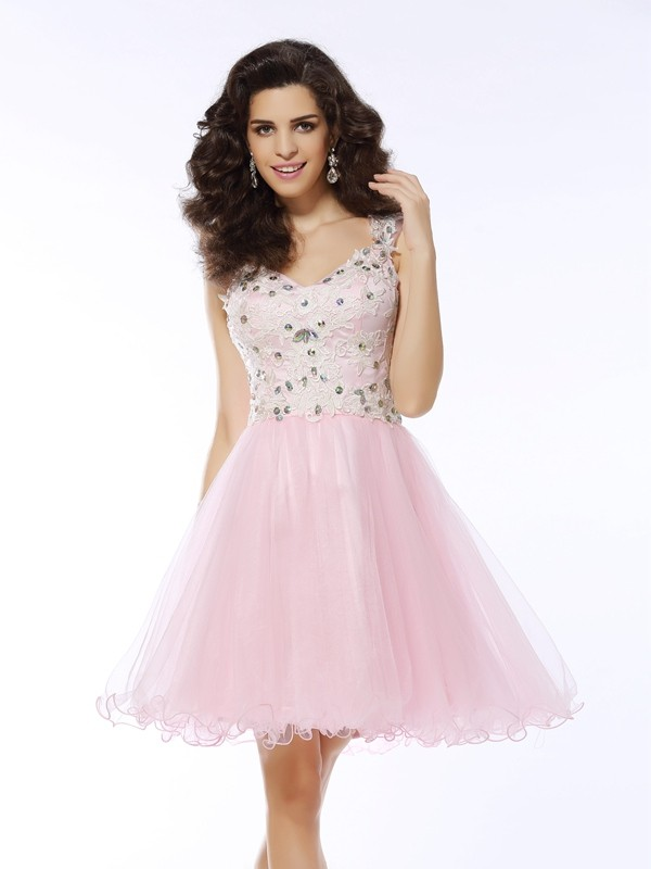 Short/Mini A-Line/Princess Sweetheart Sleeveless Applique Satin Dresses