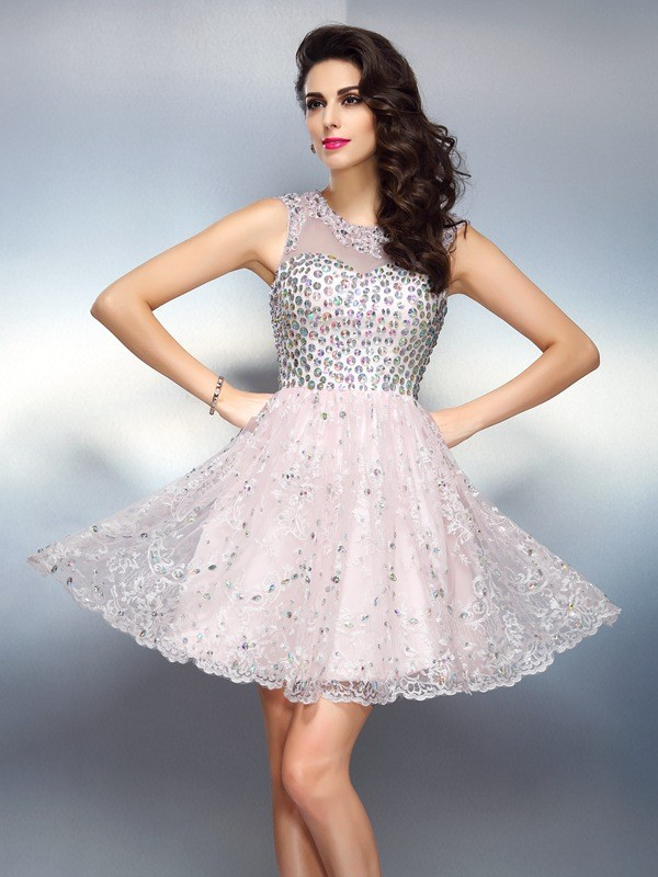 Short/Mini A-Line/Princess Bateau Sleeveless Beading Satin Dresses